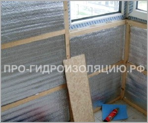 Отделка стен балкона пенофолом