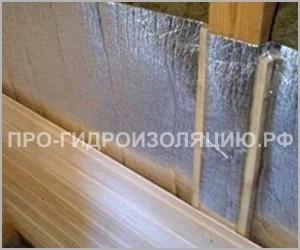 Пароизоляция стен в бане пенофолом